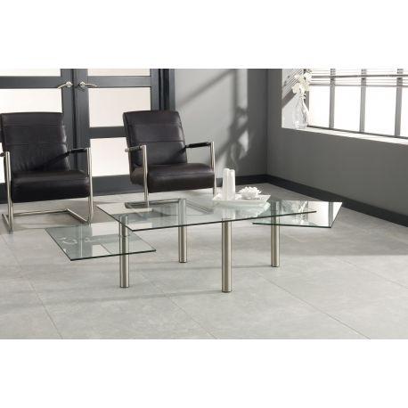 Knappe salontafel in glas en metaal Ziplock