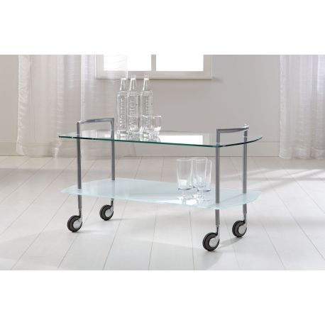 Handige serveerwagen in glas en metaal Zingara
