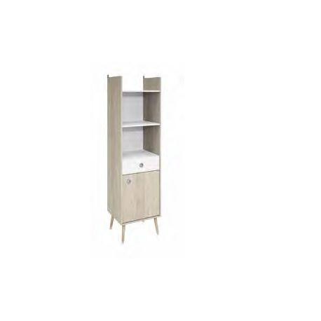 Scandinavisch design kolomkast in wit/houtdecor Soren