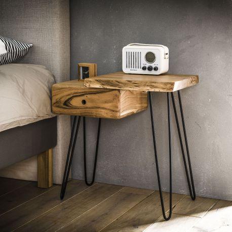Table de chevet en bois d'acacia massif