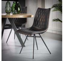 Prachtige vintage stoel in geruit pu bruin