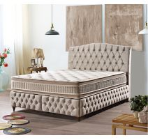 Boxspring Royal en beige tissue lavable en buttons
