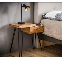 Table de chevet en bois d'acacia massif DROITE
